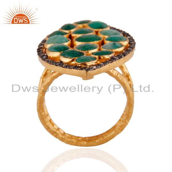 Exporter 18K Yellow Gold Over Sterling Silver Raw Emerald And Pave Diamond Statement Ring