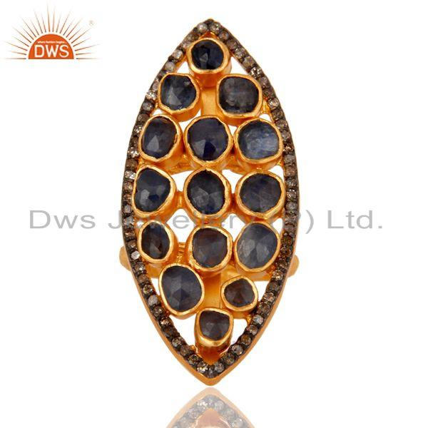Exporter 18K Yellow Gold Over Sterling Silver Blue Sapphire Pave Diamond Statement Ring