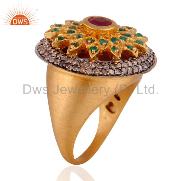 Exporter 925 Silver Emerald Gemstone Pave Diamond Ruby 18K Gold GP Cocktail Ring Jewelry