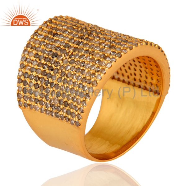 Exporter Pave Diamond 18 k Gold Over 925 Sterling Silver Fashion Dome Ring Band Jewelry