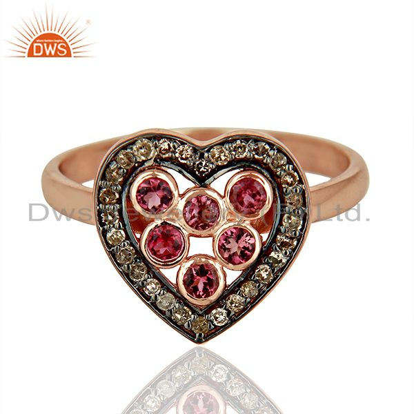 Exporter Heart Shape Pink Tourmaline Diamond Indian Rings Supplier Jewelry