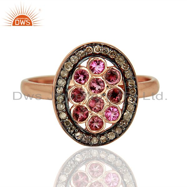 Exporter Rose Gold Plated Silver Pave Diamond Designer Ring Manufacturer