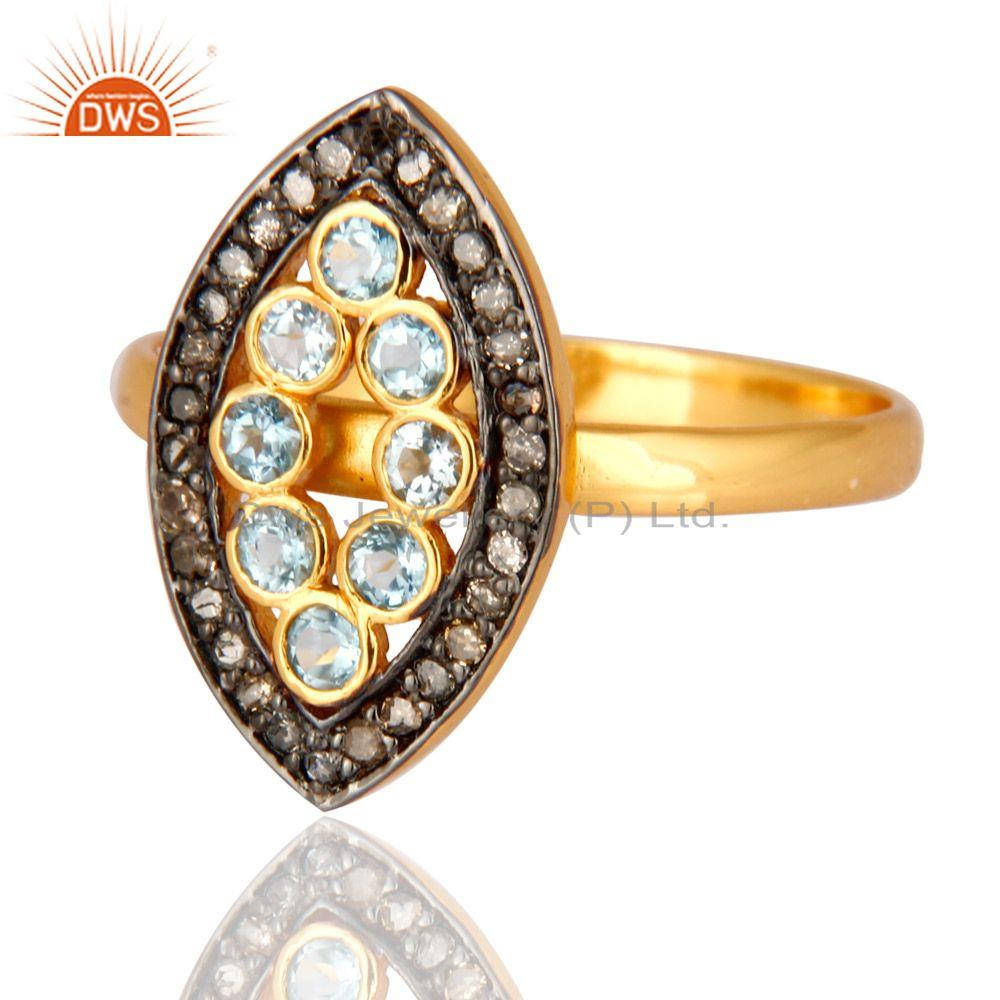 Exporter Blue Topaz And Pave Diamond Designer Ring In 18K Yellow Gold On Sterling Silver