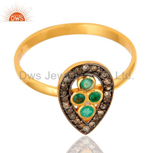 Exporter Beautiful Emerald Gemstone Ring With Diamond Accents In 18K Gold Over Silver 925