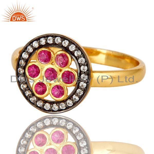 Exporter Shiny 14K Yellow Gold Plated Sterling Silver Ruby Cubic Zirconia Cocktail Ring