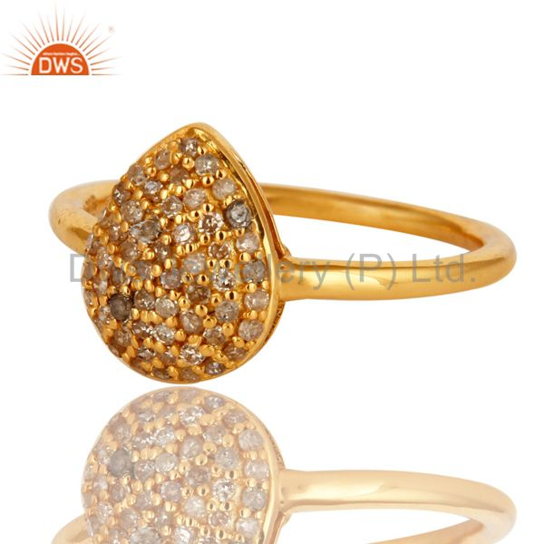 Exporter 14K Yellow Gold Over Sterling Silver Natural Pave Set Diamond Stacking Ring