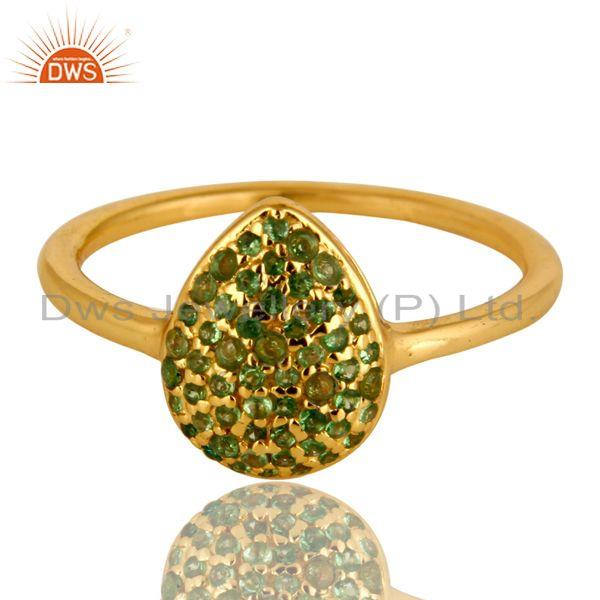 Exporter 14K Yellow Gold Plated Sterling Silver Pave Set Tsavorite Womens Stack Ring