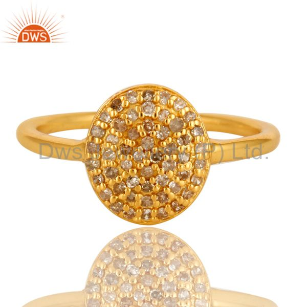 Exporter 18K Yellow Gold Over Sterling Silver Natural Pave Set Diamond Circle Ring