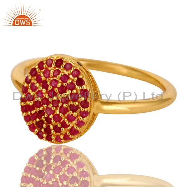 Exporter 14K Yellow Gold Over Sterling Silver Pave Ruby Gemstone Stacking Cocktail Ring