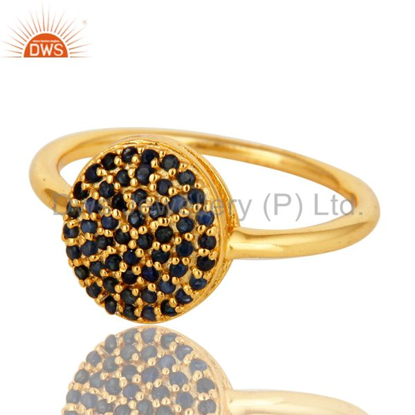 Exporter 18K Yellow Gold Plated Sterling Silver Pave Blue Sapphire Stackable Ring