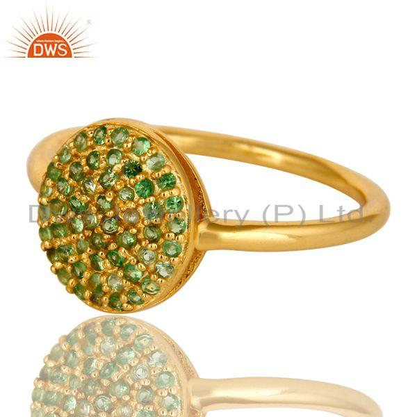 Exporter 14K Yellow Gold Over Sterling Silver Pave Set Tsavorite Stacking Ring