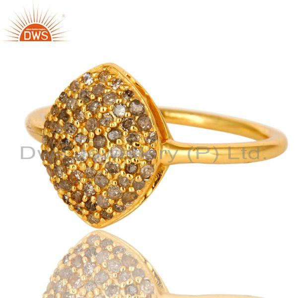 Exporter Shiny 18K Yellow Gold Plated Sterling Silver Pave Set Diamond Statement Ring