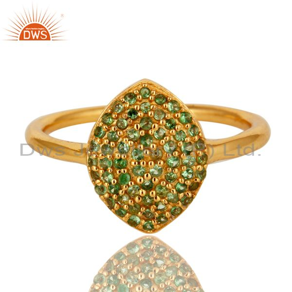 Exporter Shiny 14K Yellow Gold Plated Sterling Silver Pave Tsavorite Statement Ring