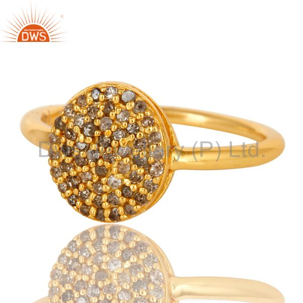 Exporter 18K Yellow Gold Plated Sterling Silver Pave Set Diamond Stackable Ring