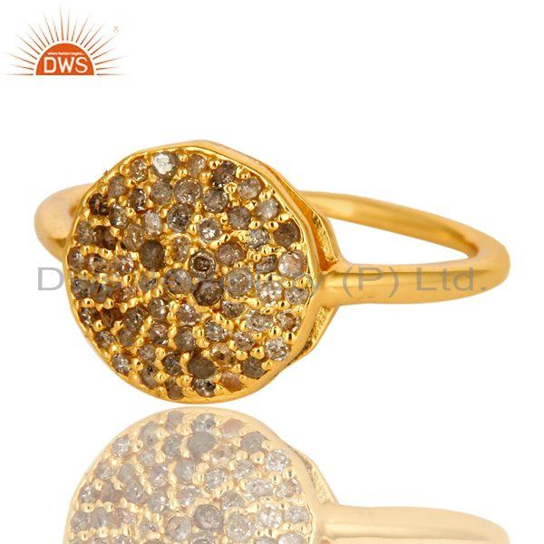Exporter 18K Yellow Gold Plated Sterling Silver Pave Set Diamond Statement Stack Ring