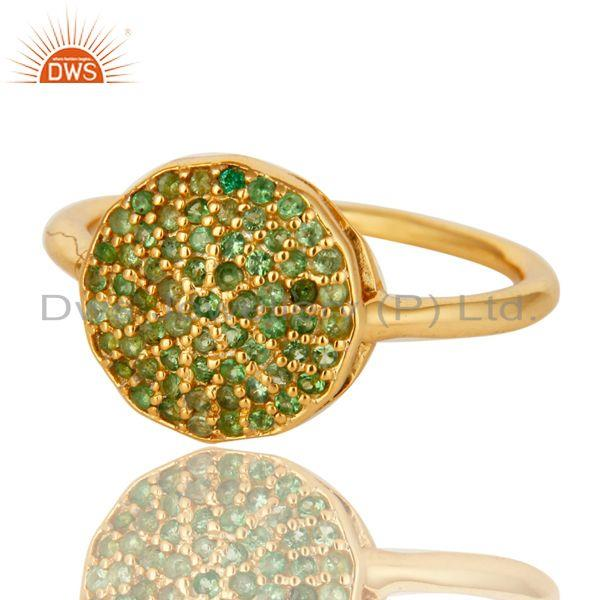 Exporter 925 Sterling Silver Tsavorite Gemstone Stacking Ring With 14K Gold Plated