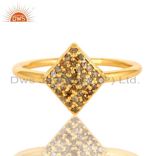 Exporter 18k Yellow Gold Over Sterling Silver Pave-Set Diamond Stacking Engagement Ring