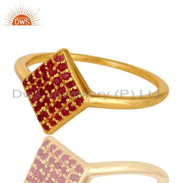 Exporter 14K Yellow Gold Plated Sterling Silver Pave Ruby Gemstone Stacking Cocktail Ring