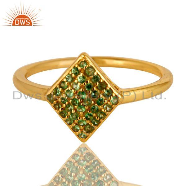 Exporter 14K Yellow Gold Plated Sterling Silver Pave Set Tsavorite Womens Stacking Ring