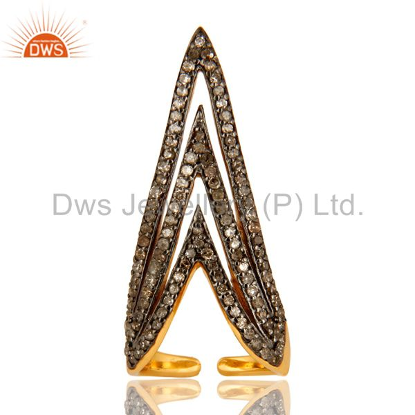 Exporter Pave Set Diamond Nail Fashion Ring Made In 14K Gold Over Sterling Silver