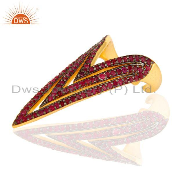 Exporter Pave Set Ruby Gemstone Nail Ring Made In 18K Gold Over Sterling Silver