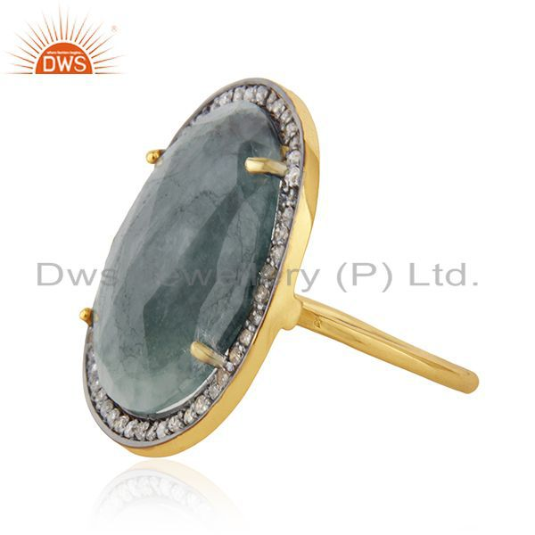 Exporter Natural Emerald Gemstone and Pave Diamond Silver Statement Ring Wholesale