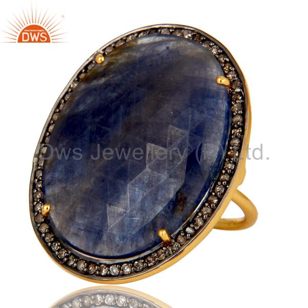 Exporter Pave Diamond And Blue Sapphire Cocktail Ring In 18K Yellow Gold Sterling Silver