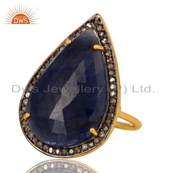 Exporter 18K Yellow Gold Sterling Silver Pave Diamond And Blue Sapphire Stackable Ring