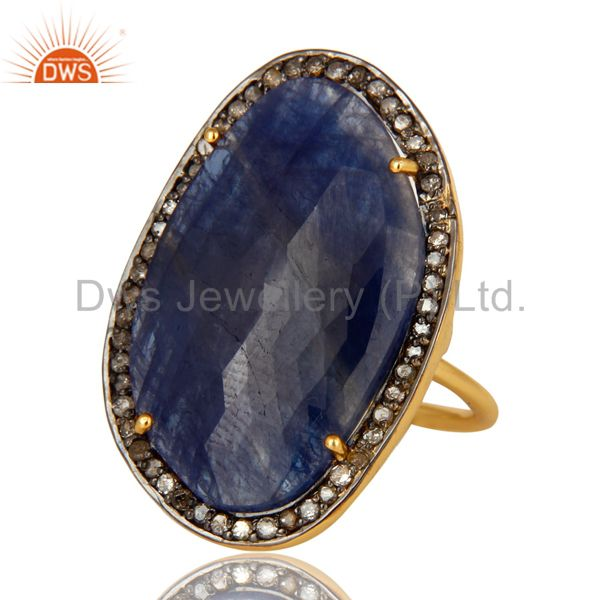 Exporter 18K Yellow Gold Sterling Silver Pave Diamond And Blue Sapphire Cocktail Ring