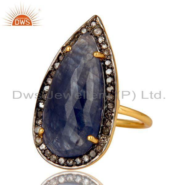 Exporter 18K Yellow Gold Over Sterling Silver Pave Diamond Blue Sapphire Statement Ring