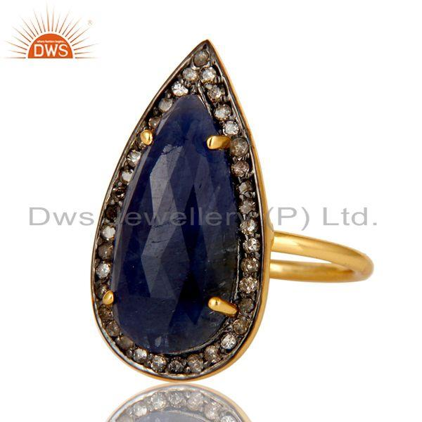 Exporter 18K Yellow Gold Sterling Silver Pave Diamond And Blue Sapphire Statement Ring