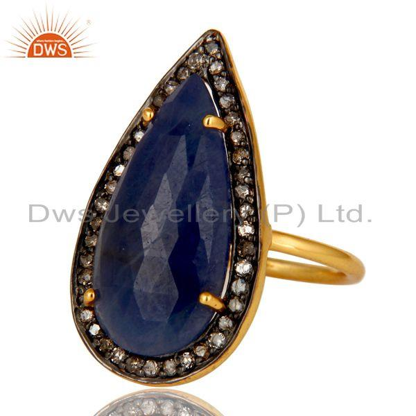 Exporter 18K Yellow Gold Sterling Silver Pave Set Diamond Blue Sapphire Statement Ring