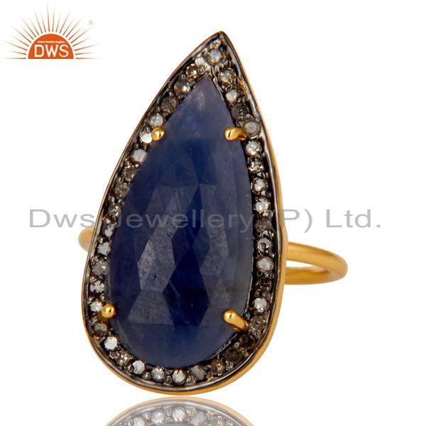 Exporter 14K Yellow Gold Sterling Silver Pave Diamond And Blue Sapphire Statement Ring