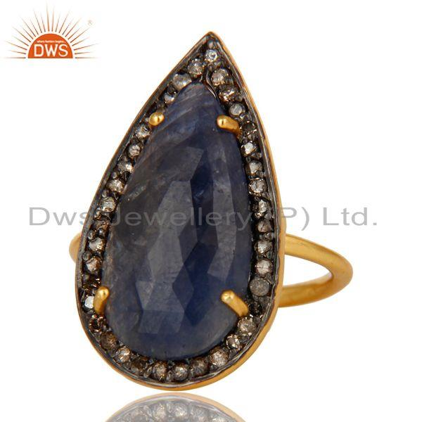 Exporter 18K Gold Sterling Silver Pave Diamond And Blue Sapphire Fashion Statement Ring