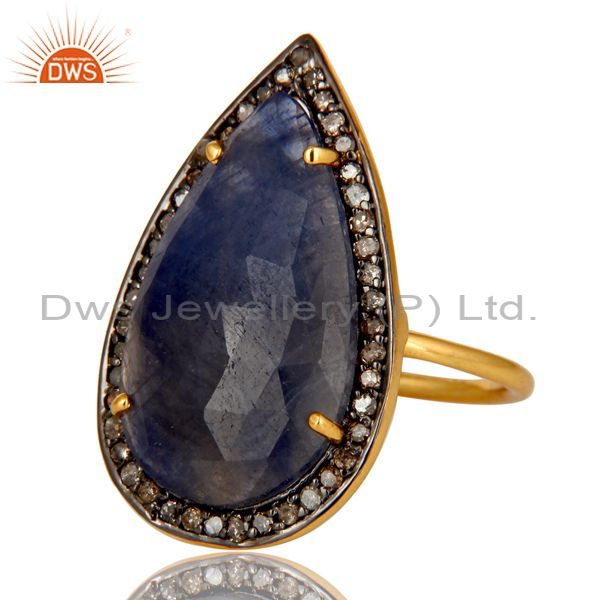 Exporter 14K Yellow Gold Sterling Silver Blue Sapphire Statement Ring With Pave Diamond