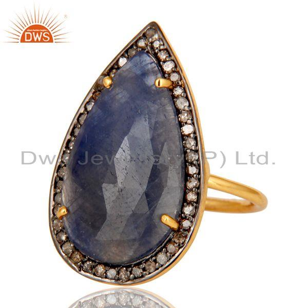 Exporter Blue Sapphire and Diamond Pave Set Gold Plated Sterling Silver Statement Ring