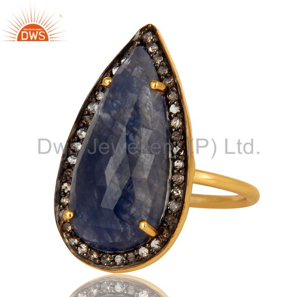 Exporter 18K Gold Plated Sterling Silver Pave Diamond And Blue Sapphire Statement Ring