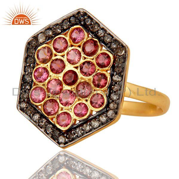 Exporter Natural Pink Tourmaline and Pave Diamond 18K Gold Plated Sterling Silver Ring