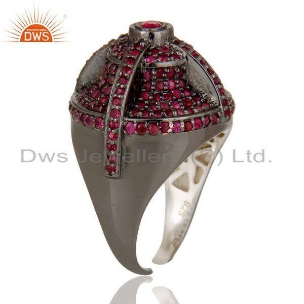 Exporter Victorian Estate Style Pave Set Natural Ruby Gemstone Silver Dome Ring