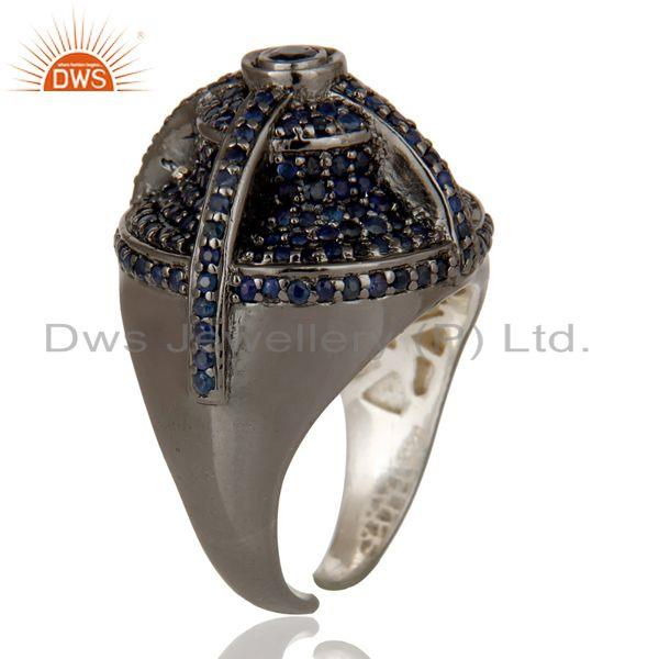 Exporter Victorian Estate Style Pave Set Natural Blue Sapphire Gemstone Silver Dome Ring