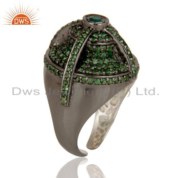 Exporter Victorian Estate Style Pave Tsavourite and Emerald Gemstone Silver Dome Ring
