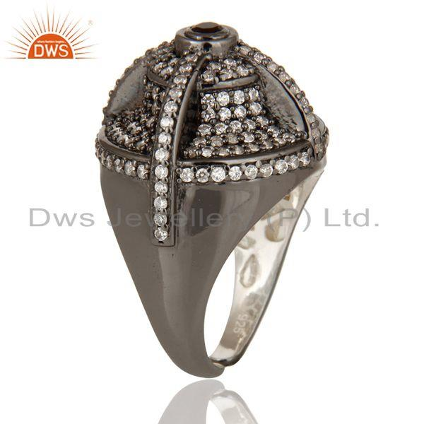Exporter Victorian Estate Style Pave Set White CZ and Smokey Gemstone Silver Dome Ring
