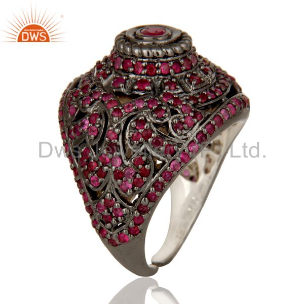 Exporter Pave Setting Ruby Birthstone Victorian Estate Style Gemstone Silver Ring