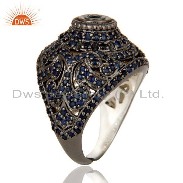 Exporter Pave Setting Blue Sapphire Victorian Estate Style Gemstone Silver Ring