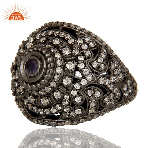 Exporter Pave Setting Iolite and White CZ Victorian Estate Style Gemstone Silver Ring
