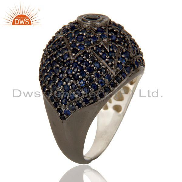 Exporter Victorian Estate Style Pave Setting Blue Sapphire Gemstone 925 Silver Ring