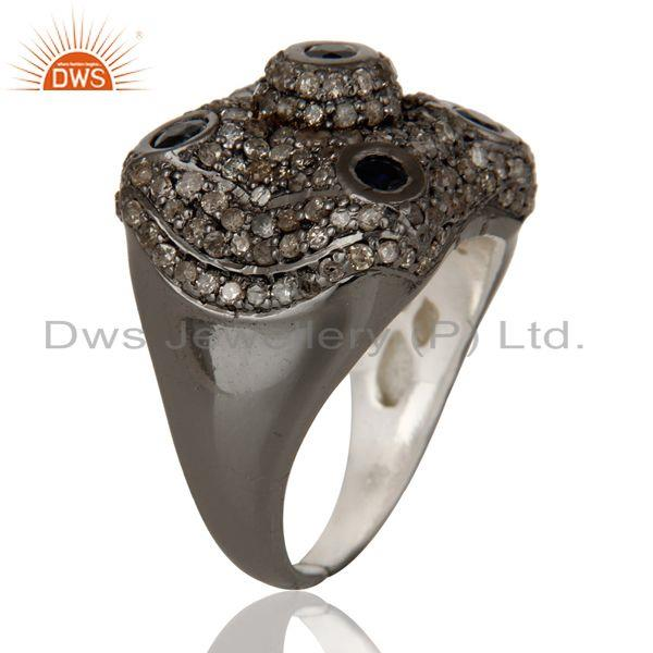Exporter Pave Diamond and Blue Sapphire Victorian Estate Style Gemstone 925 Silver Ring