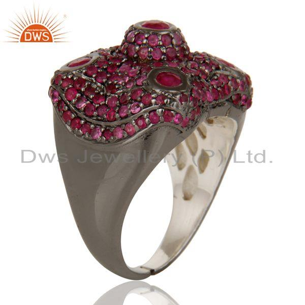 Exporter Pave Ruby Birthstone Victorian Estate Style Gemstone 925 Silver Ring