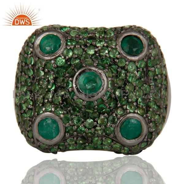 Exporter Pave Tsavourite Emerald Victorian Estate Style Gemstone 925 Silver Ring