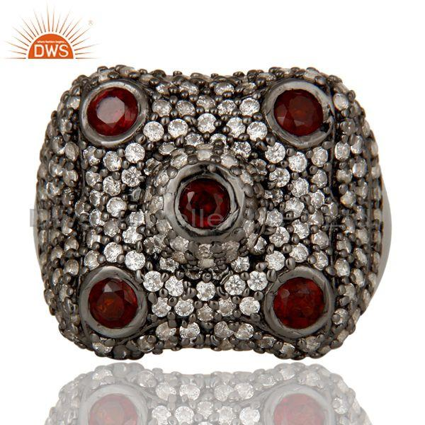 Exporter Pave Garnet and White Zircon Victorian Estate Style Gemstone 925 Silver Ring
